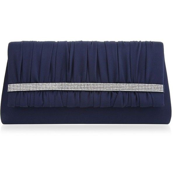 Nina Shirred Locklin Convertible Clutch (1 290 UAH) ❤ liked on Polyvore featuring bags, handbags, clutches, navy blue, navy blue handbags, navy blue clutches, snap purse, strap purse and navy blue purses