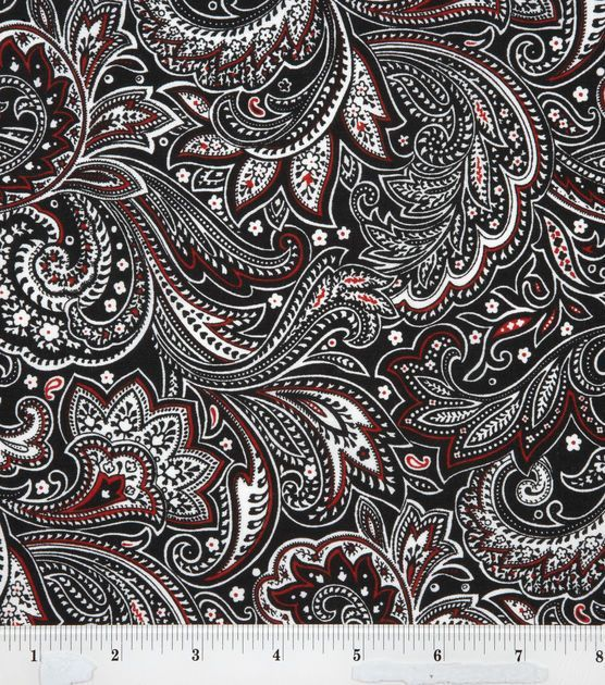 Keepsake Calico Fabric Paisley Black White Red Details http://www.joann.com/keepsake-calico-fabric-paisley-black-white-red/11122454.html Item # 11122454 $9.99 $6.99 30% off Keepsake Calico Prints: