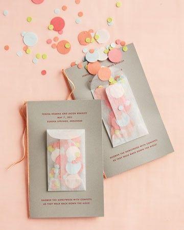 Confetes! Inspiração para o convite e para entregar aos convidados no próprio casamento.