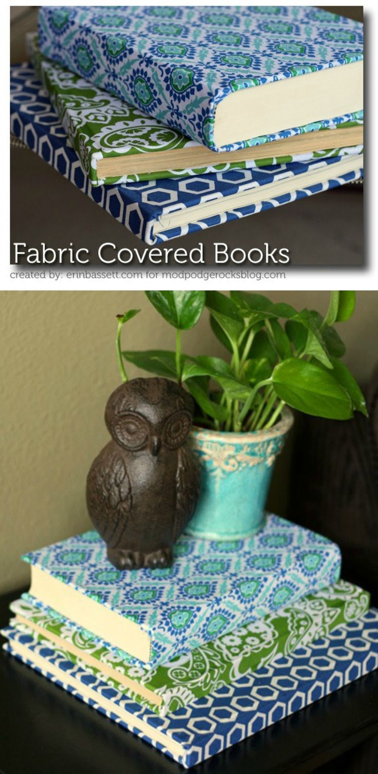These fabric covered books make the perfect home decor pieces - and they are so cheap to make. Use old books, your fave fabric and Mod Podge to make.