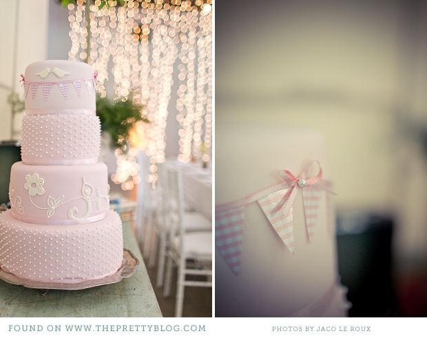 Pink cake with bunting