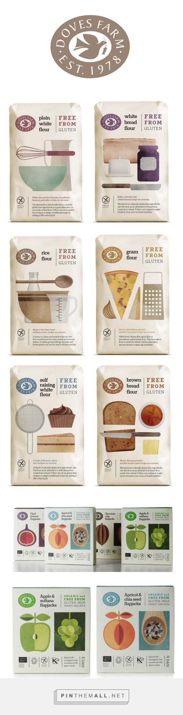 Studio h Doves Farm branding & packaging design curated by Packaging Diva PD. Simple illustration style created for their glu-ten free flour range conveys ease of baking and creating delicious food from recipes on the back of pack.