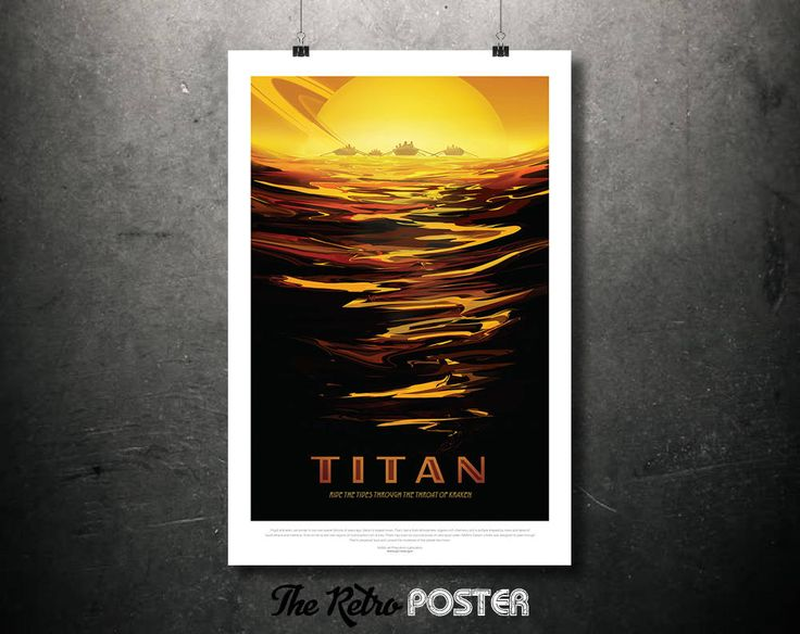 NASA Space Travel Poster - TITAN Ride The Tides of Kraken's Throat - Father's Day Gifts for Dad Retro Sci Fi Fantasy Space Age Art Print by TheRetroPoster on Etsy