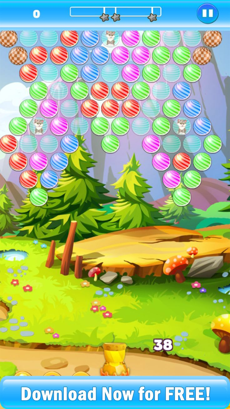 Bubble Shooter: Kitten Rescue is based on a simple story line in which bunch of kittens are trapped in between the bubbles. The player needs to show great precision and match at least 3 of the bubbles with same color in order to pop the balloons and release the kittens. The game features hundreds of levels and comes with all the standard bubble shooting features.  https://play.google.com/store/apps/details?id=com.srk.bubbleshooter