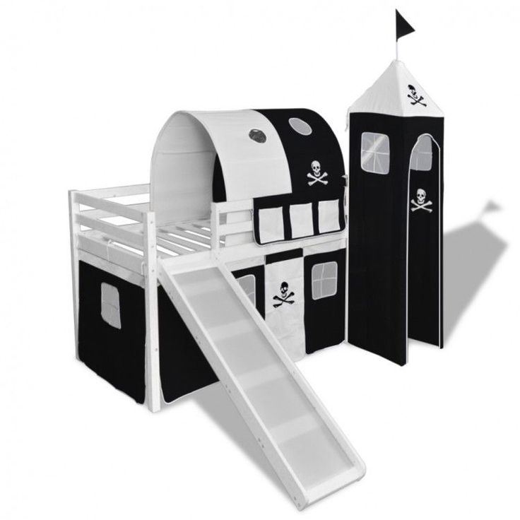 Childrens Loft Bed Slide Ladder Pirate Themed Black White Frame Bunk Wood Tent #ChildrensLoftBed