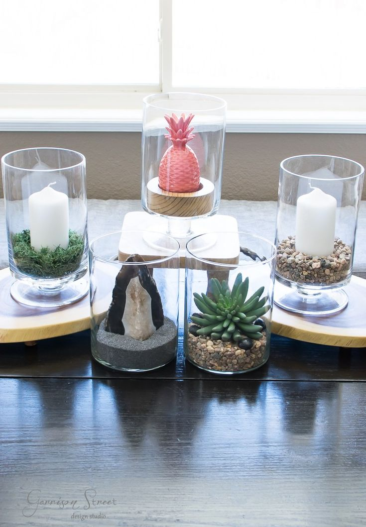 My Favorite Decorating Hack | Glass Hurricanes 5 Ways | Garrison Street Design Studio | Decor | Centerpiece | Succulent | Terrarium | Pink Pineapple | Geode | Agate | Easy Decor | Vase Fillers | Sand | Candle Holder | Glass Hurricane Ideas | Glass Hurricane Centerpiece | Glass Hurricane Candle Holder | Glass Hurricane Decor | Table Decoration | Martha Stewart | Crate & Barrel | Dollar Tree | Simple | Spring | Home | Summer | DIY | Patio | Lantern | Pottery Barn
