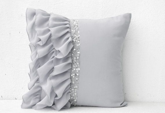 Silver Grey Ruffled Sequin Throw Pillow Cover by AmoreBeaute
