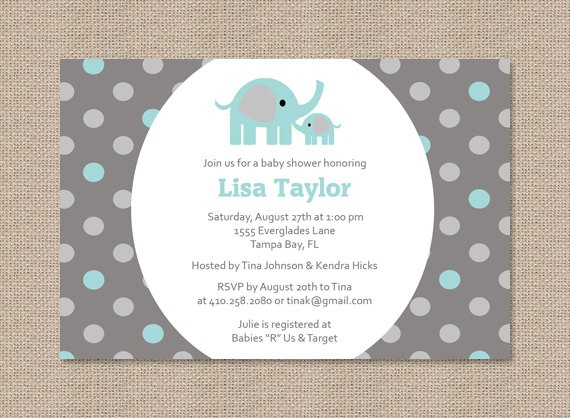 26 best images about baby boy shower elephant theme on pinterest, Baby shower invitations