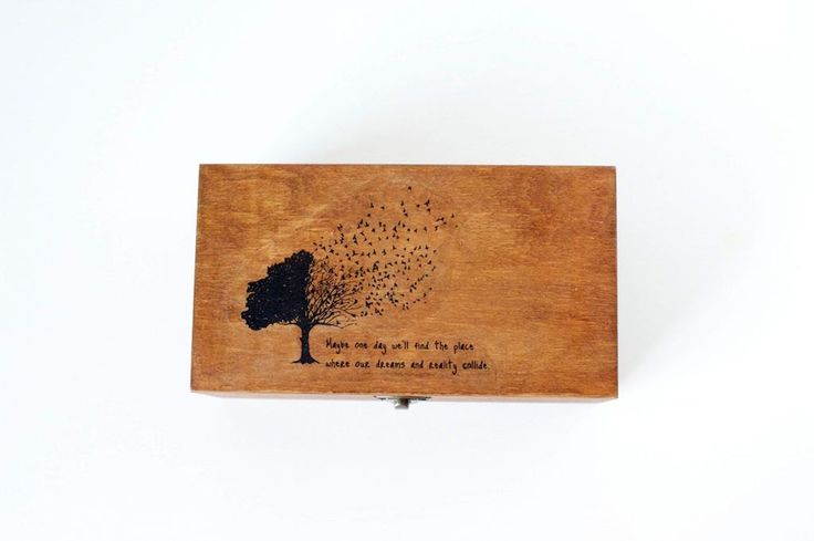 Handmade wooden box with image transfer by Gurdey on Etsy