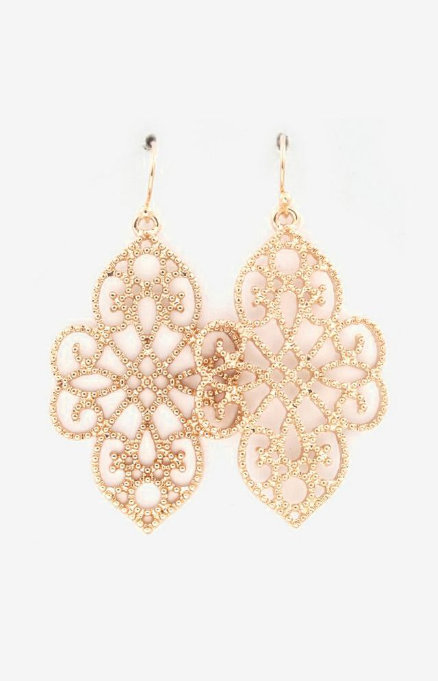 Dotted Filigree Earrings in Gold