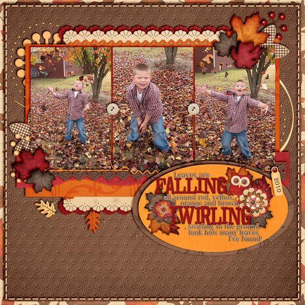 Falling Leaves - Scrapbook.com - #scrapbooking #digital #layouts #autumn #fall