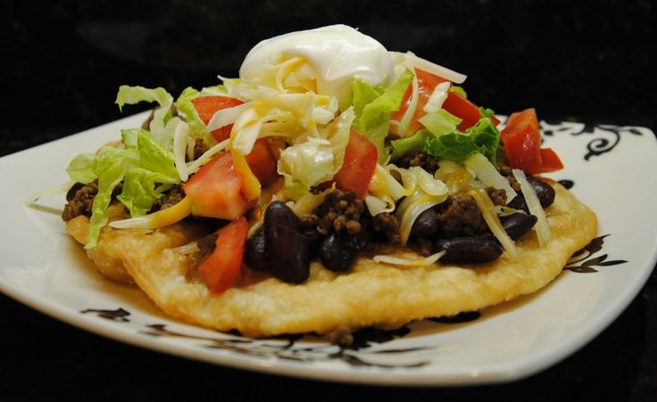 Navajo Tacos (Or Indian Tacos as some call them).  If you've never had a taco ingredients on fry bread, you're missing out. Big.Navajo Tacos, Savory Food, Fries Breads, Yummy Recipe, Tacos Time, Indian Fries, Indian Tacos, Breads Tacos, Tacos Recipe