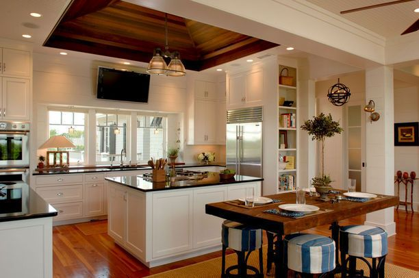 High Ceiling/White/Inlaid wood on ceiling/floors/table top