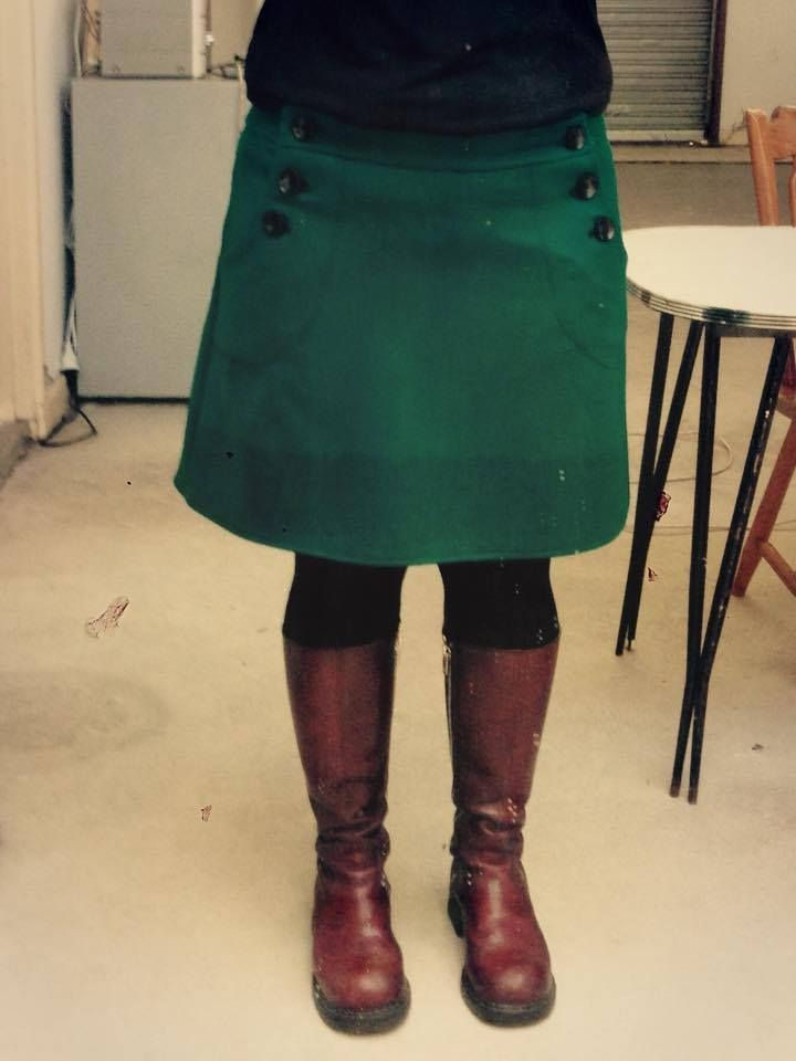 New version of an old favourtie. The Betty Button skirt in green/teal boiled wool with a screen printed hem.