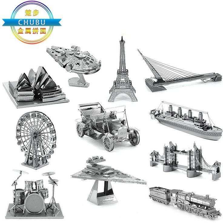 3D Metal Puzzles DIY Model Building World's Vehicle Eiffel Tower  Fighter Millennium Falcon Model Toys Robot Children Gift