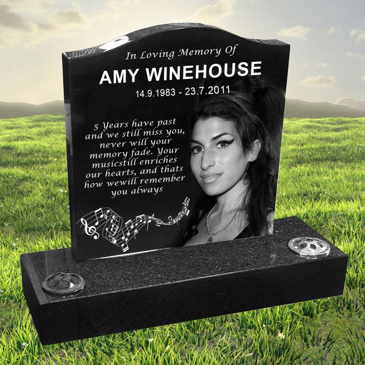 Amy Winehouse laser etched black granite headstone designed by Forever Shining