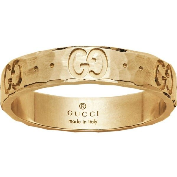 Gucci Icon hammered 18ct yellow gold ring 545 liked on Polyvore featuring jewelry rings