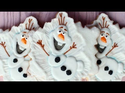 How to make an Olaf Cookie - Frozen Cookie - Snowflake cookie decorating - YouTube