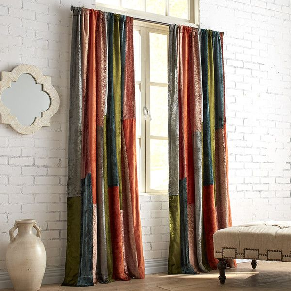 Pier 1 Imports Velvet Sari Patchwork Curtain (1.215 DKK) ❤ Liked On  Polyvore Featuring