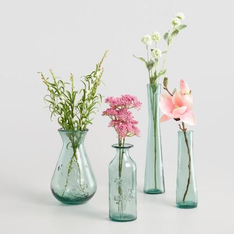 Green Embossed Floral Recycled Glass Vase World Market Glass Flower Vases Flower Vases Small Glass Vases