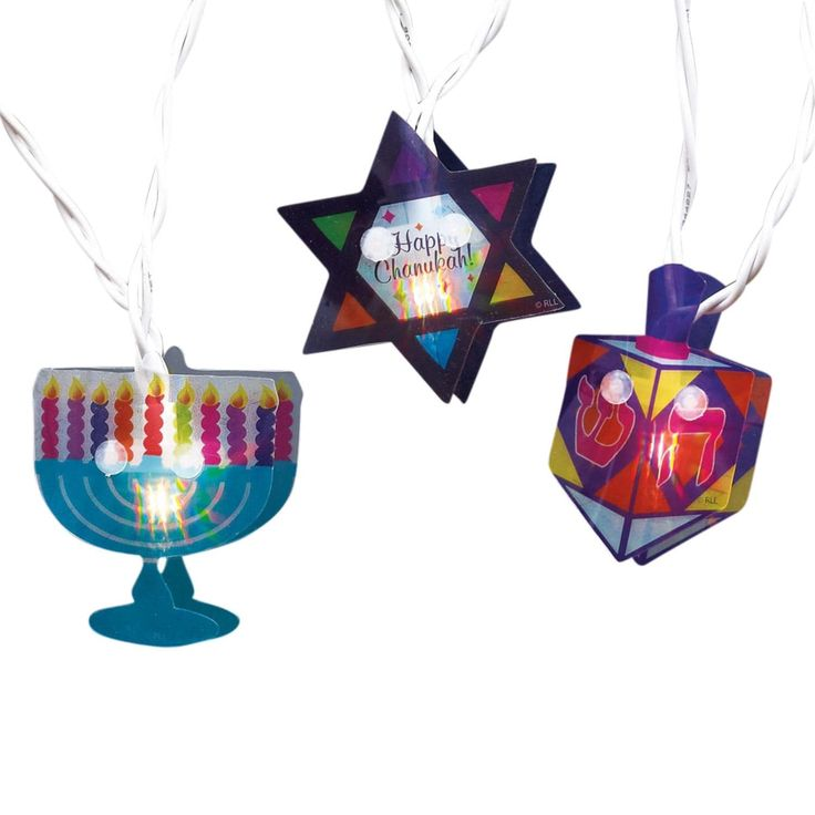 Set of 10 Menorah, Star of David and Dreidel Hanukkah Hologram Novelty Lights -White Wire, Multi