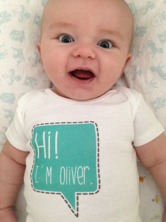 [just ordered this to announce his name (not Oliver) after he's born!] newborn name bodysuit - personalized name - cute speech bubble - baby shower gift