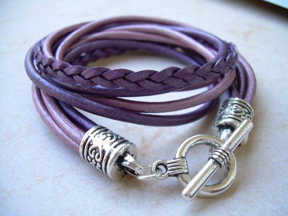 Womens Leather Bracelet Five Strand Double by UrbanSurvivalGearUSA, $24.99