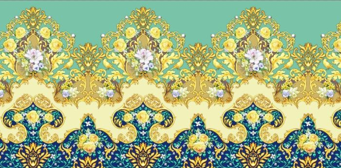 Seamless border with spring bouquets and yellow roses by Maria Rytova