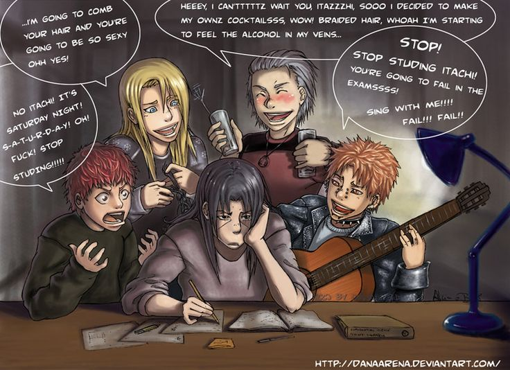 They want Itachi to STOP studying! Let's see: Deidara's helping him ...