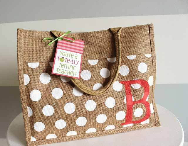 This site is for the Teacher Appreciation Printable Tags but I like the the burlap, polka dotted bag.  There are instructions on Pinterest on how to paint burlap, using those ideas, paint polka dots on the burlap fabric.