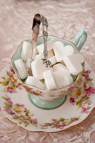 Make your own sugar cubes - water, sugar, and silicon molds  https://www.etsy.com/shop/royalteahats