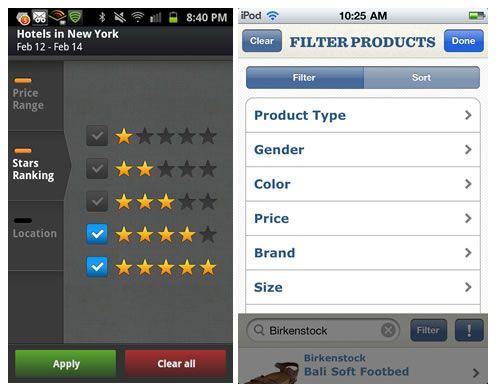 WorldMate, Zappos http://www.smashingmagazine.com/2012/04/10/ui-patterns-for-mobile-apps-search-sort-filter/