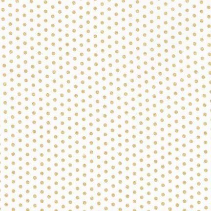 Robert Kaufman Fabric Spot On Metallic Gold Shiny Swiss