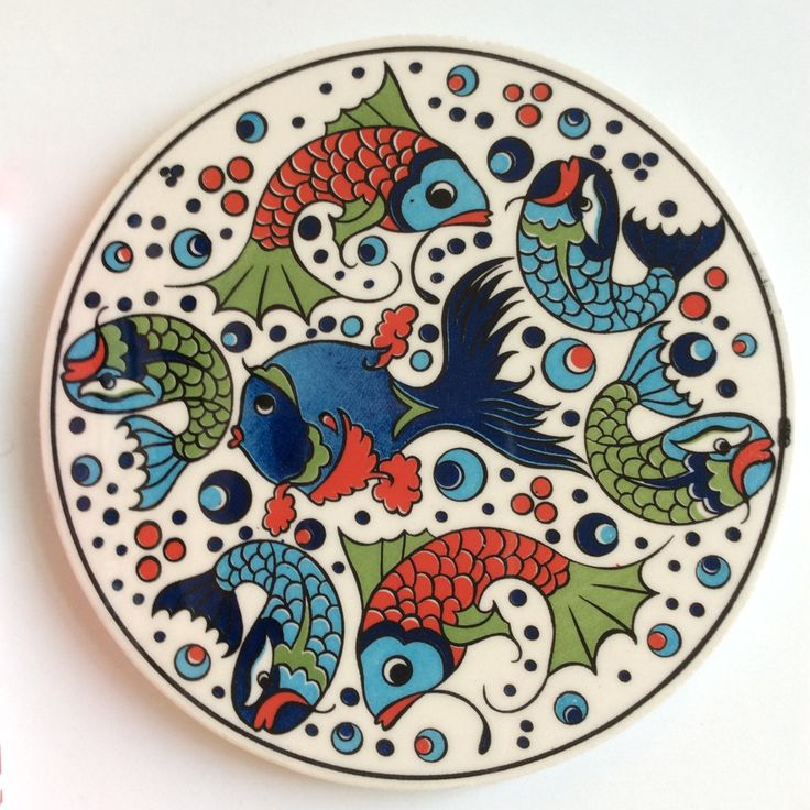 Ceramic Trivet with fun fish design