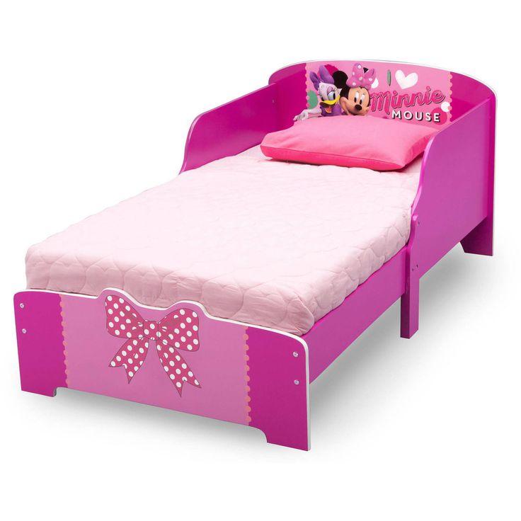 Modern Toddler Bed Frame Wood Twin Size Minnie Mouse Kids Bedroom Furniture Pink #Disney