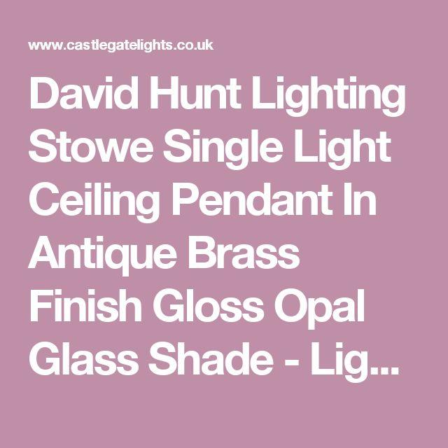 David Hunt Lighting Stowe Single Light Ceiling Pendant In Antique Brass Finish Gloss Opal Glass Shade - Lighting Type from Castlegate Lights UK