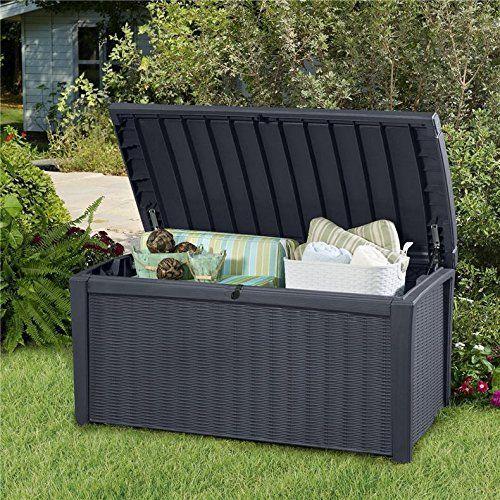 Keter Borneo Rattan Style Plastic Garden Storage Deck Bench Box 400L Capacity