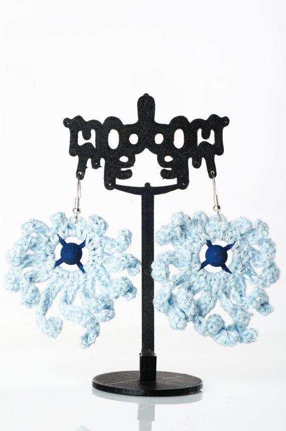 Large Light Blue Crochet Earrings Dangle Drop by ModmeStyle