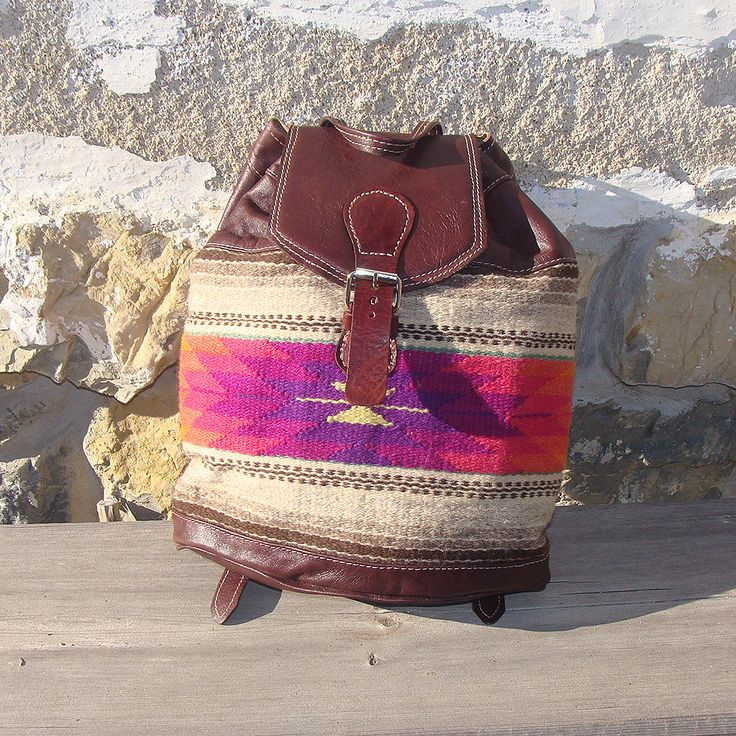 Kilim backpack, boho backpack, leather backpack with kilim fabric, handmade backpack, unique backpack by RugsNBags on Etsy