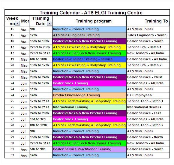 image result for training calendar format