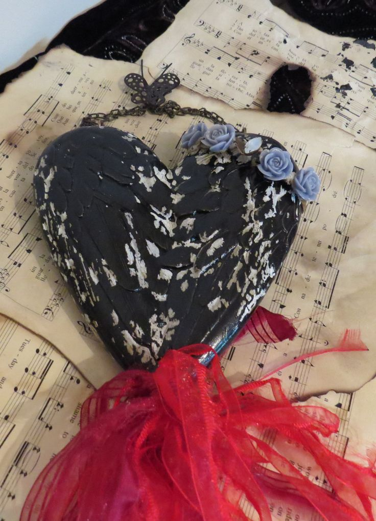 Black heart, red and black heart, Goth inspired heart, heart wall hanging, Goth wedding gift, Christmas gift, Black wall decor by ChippedPaints on Etsy