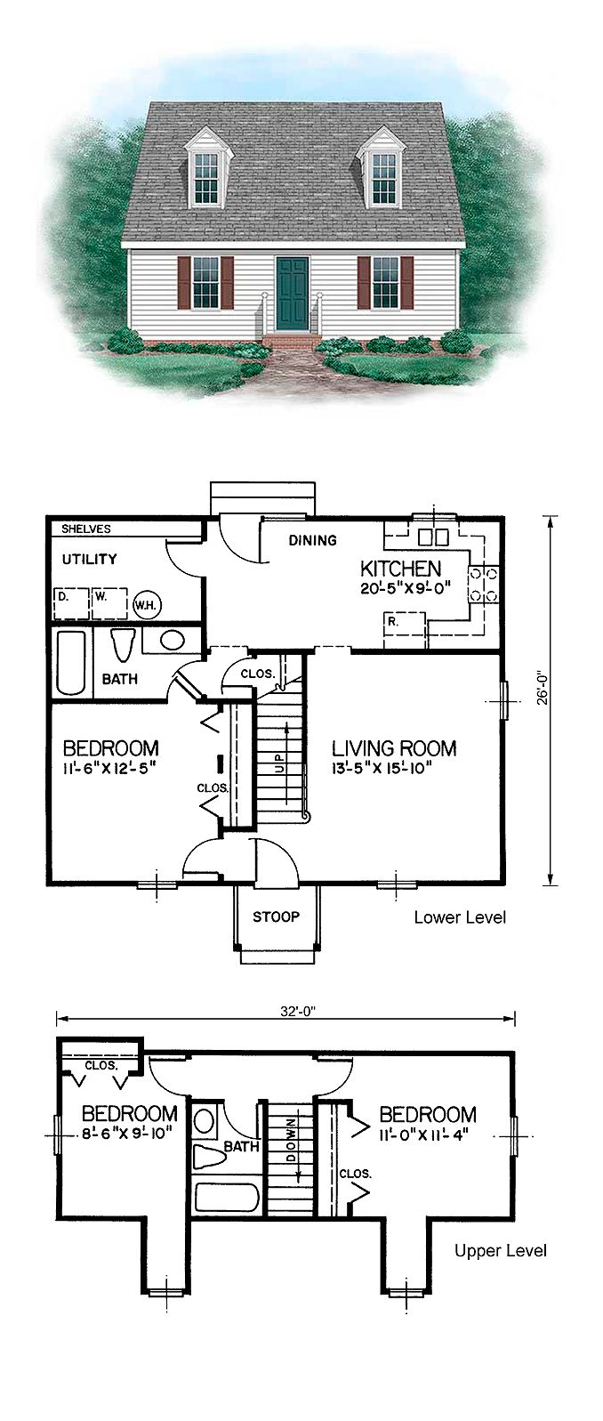 CapeCod Style COOL House Plan ID: chp-24151 | Total Living Area: 1257 sq. ft., 3 bedrooms and 2 bathrooms. #capecodhome