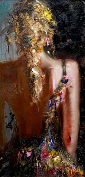 "Artist Misti Pavlov Portrait of a Stranger, 31"" x 16"" oil - Beautiful"
