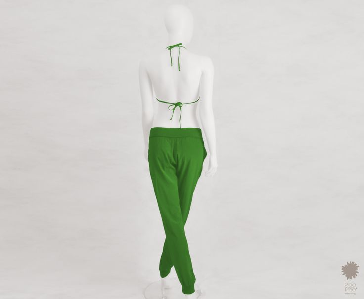 Haiti Green Power - Loose fit trousers with elasticated waist and ankles in dyed silk with side pockets and knitted hems