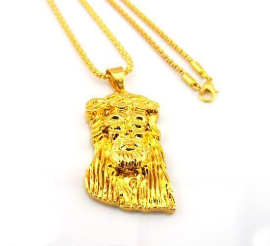 Gold Plated Necklace Jesus Piece Necklace Hip pop Jesus Pendant+75 Chain