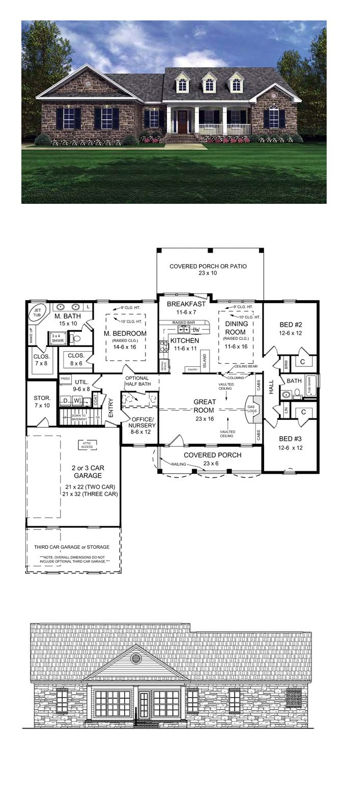 Ranch Style Home Plan 59024 | Total Living Area: 2002 sq. ft., 3 bedrooms and 2 bathrooms. This home elicits the charming appeal of a quaint cottage that you might find in an old village in the English countryside. Very unique design which maximizes every inch of its useable space. #houseplan #ranchstyle