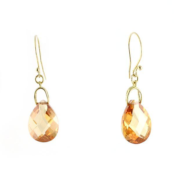 Gold-plated silver and champagne cubic zirconia drops. Elegance and modest sophistication.