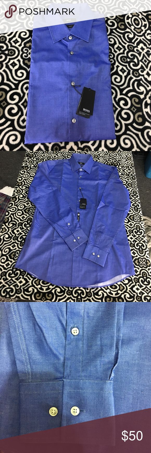Hugo Boss Royal Blue Jacob New With Tags Slim Fit Pit to Pit: 21.5 Inches   Length: 33.25 inches   Waist: 20.25 Inches  Hugo Boss New With Tags Slim Fit Hugo Boss Shirts Dress Shirts