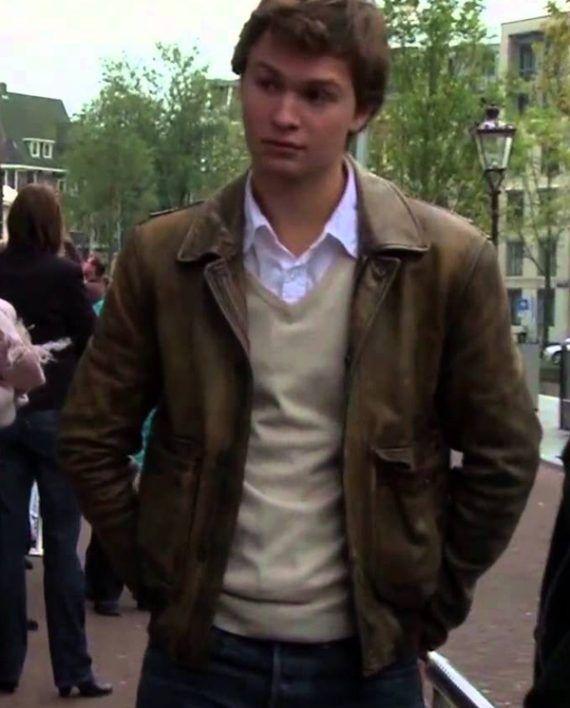 Ansel Elgort Brown Jacket