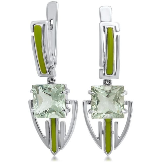 Drukker Designs Fleur Collection Prasiolite Silver Dangle Earrings